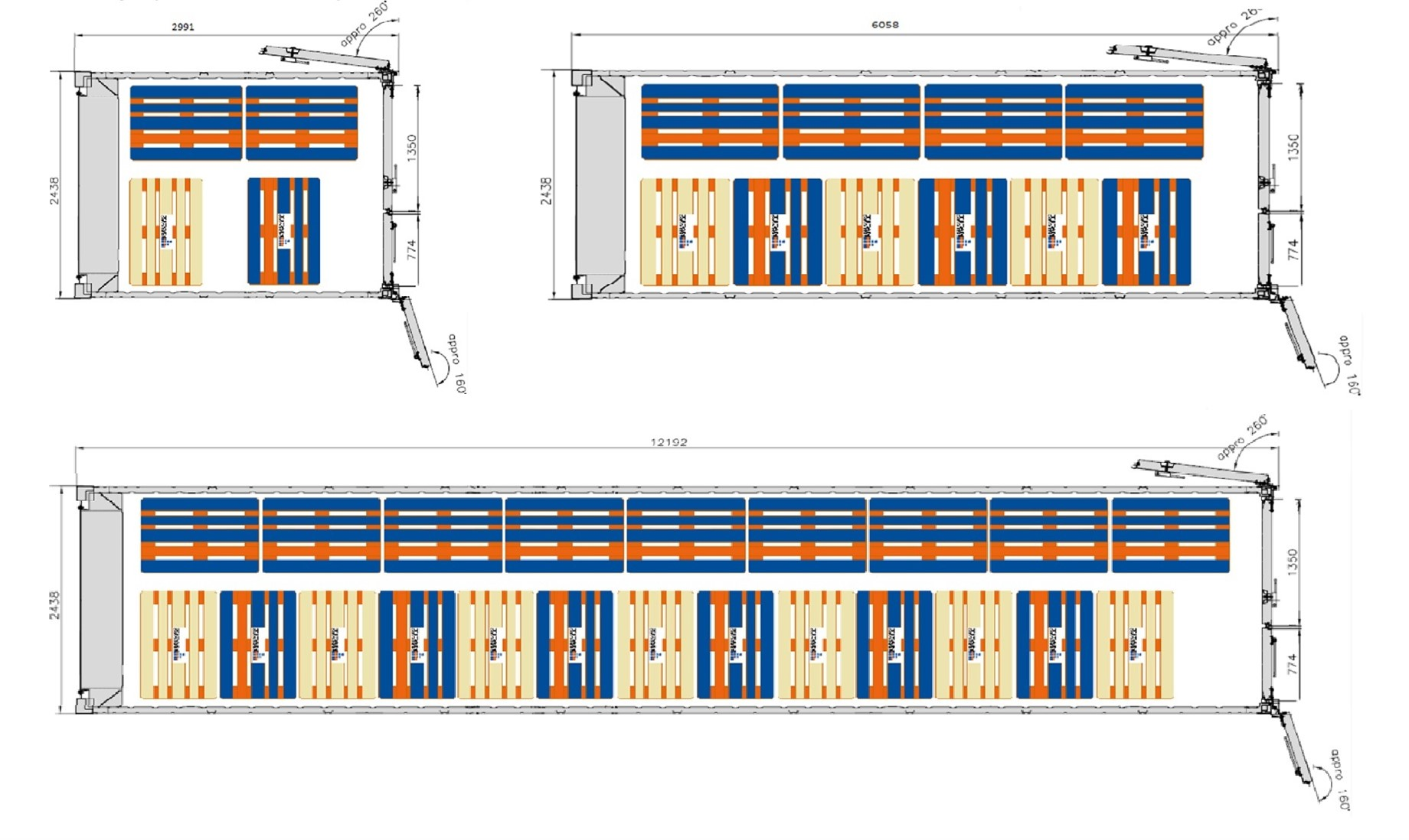 <h3>10' - 20' - 40' ArcticStore cold storage containers pallet plan. eu pallets 4 - 10 - 22 or uk pallets 4 - 9 - 20 &nbsp;</h3>